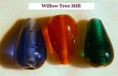 PACK OF 10 PRETTY TEARDROP LAMPWORK BEADS - 20mm x 12mm - CHOICE OF 3 COLOURS *