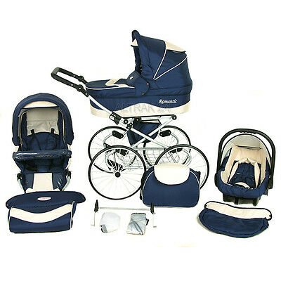 Pram Stroller Buggy Pushchair Kunert Romantic Classic car seat retro wheels