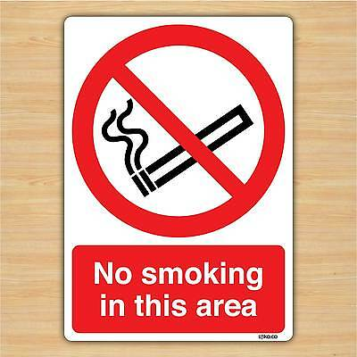 No Smoking In this area - No smoking Sign vinyl Sticker (148x210mm) by stika.co