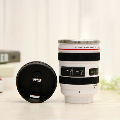 Lens Cup 24-105 Coffee Tea Travel Mug Stainless Steel Thermos Camera Lens Lid