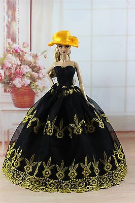 Black Fashion Princess Party Dress/Wedding Clothes/Gown+Hat For 11.5in.Doll y92