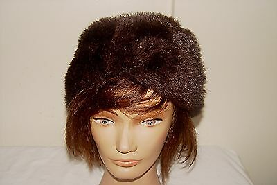 "Vintage Dark Brown Faux Fur Hat Lined, Good Condition About 22-23"" Diameter"