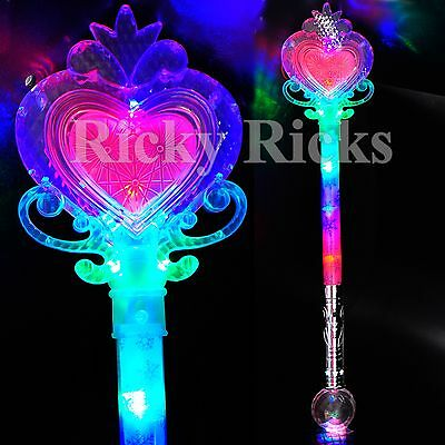 Light Up Princess Wand Frozen Crystal LED Heart Fairy Magic Scepter Snow Flakes