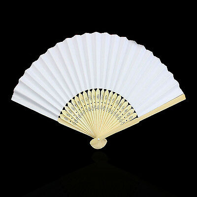NT White Solid Hand Paper Fans Wedding Party Decor Favors Pocket Folding Bamboo