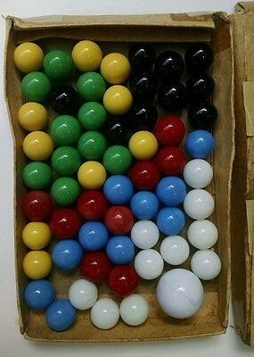 AKRO AGATE Vintage Glass Marbles 60 in Original Box Colorful Fun & Large Shooter