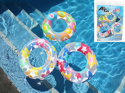 24 x Pool Toy Inflatable swim ring tube gaily coloured 2 size wholesale bulk lot