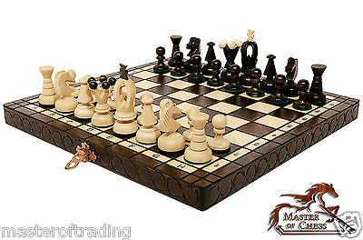 "Gorgeous 30cm ""THE KINGDOM"" Wooden Chess Set. Hand Crafted Pieces & Chessboard!"