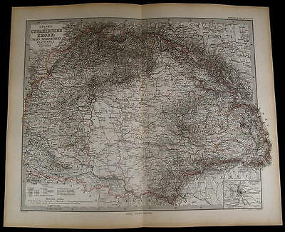 Hungary Transylvania Slavonia Croatia Balkans nice 1883 fine old detailed map