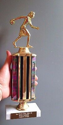 """Vintage 80s Marble Italy TROPHY 12"""" Woman Bowling in Dress Distressed PartyGag"""