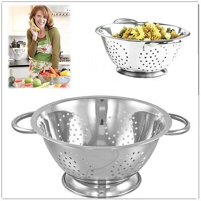 24 cm Stainless-Steel Deep Colander Twin Handle Kitchen Strainer Salad Spaghetti