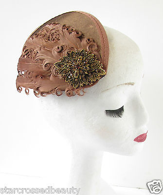 Brown & Bronze Feather Fascinator Headpiece Hair Clip Vintage Races Diamante R34