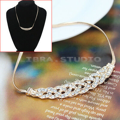 Golden Graceful Women Lady Girl Rhinestone Plait Twist Bib Choker Necklace Chain