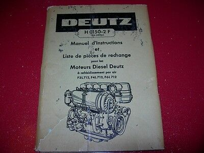 Manuel D'instructions Liste De Pieces  Moteur Diesel  Deutz