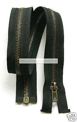 Black Antique Brass Metal Teeth Open Ended Zip ( Choice Of Lengths )