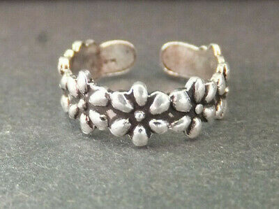 SOLID SILVER TOE RING, Flower outline design *BN* good quality, sturdy toe ring