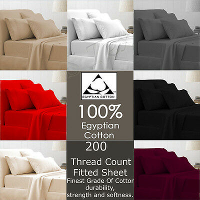 100% Egyptian Cotton T-200 Thread Count Bed sheet Fitted Sheet  4 Size