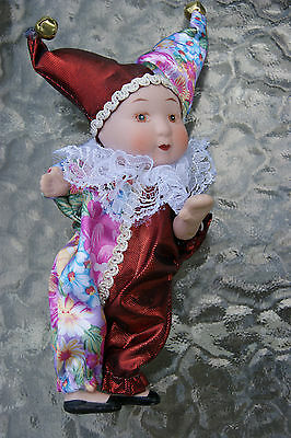 Porcelain doll Jester style -colorful-7 inches tall - Art Mark Chicago