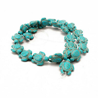 One Strand Howlite Turquoise Carved Two-sided Sea Turtle With Charm Spacer Beads