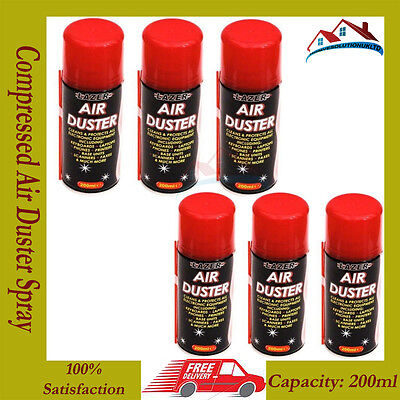 6 x Compressed Air Duster Spray Can 200ml Clean & Protect Laptop Keyboards BN