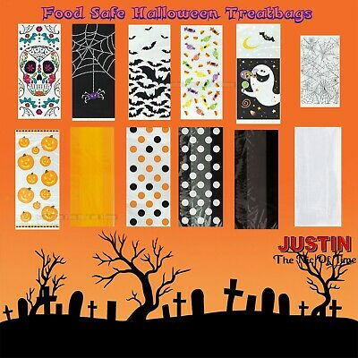 Halloween Trick Or Treat Cellophane Sweet Bags Loot Gift Party Bag Plain Pattern