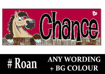 Roan bay blue red HORSE PONY cartoon name Sign Plaque Stable door tack room gift