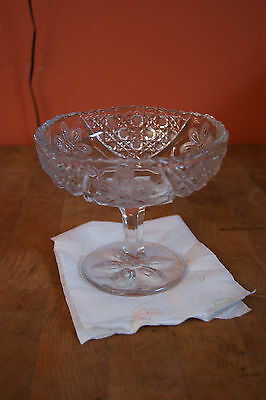 Clear fancy  Glass Candy/ Condiment Pastry Serving Dish on Pedestal  Vintage