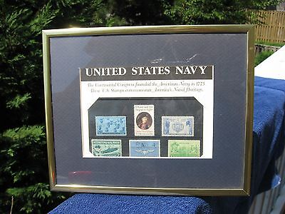 Vintage United States Navy framed stamps. Lot of 6.