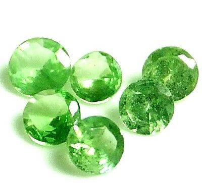NATURAL PRETTY GREEN TSAVORITE GARNET LOOSE GEMSTONES (5 pieces) ROUND (2.4 mm)