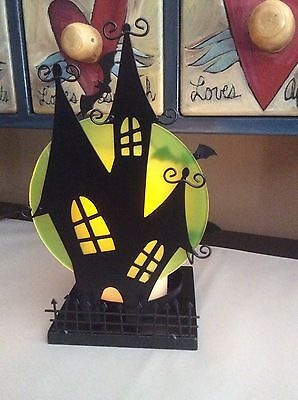 Yankee Candle 2015 Halloween Silhouettes Batty Haunted House Jar Holder Nib New