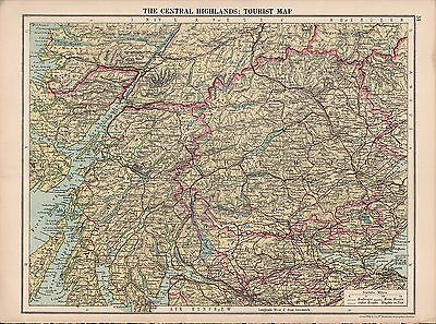 1930 Map ~ The Central Highlands Tourist Map ~ Argyll Perth Stirling