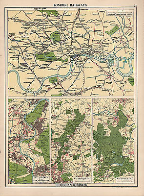 1930 Map ~ London Railways Underground ~ Suburban Thames Epping Forest Windsor