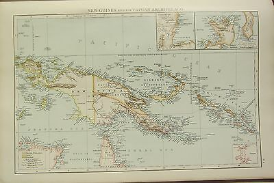 1895 Large Victorian Map ~ New Guinea & The Papuan Archipelago Inset New Britain