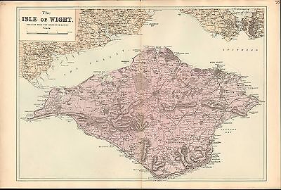 1881 HAND COLOURED MAP ~ THE ISLE of WIGHT ~ SUPERB DETAIL