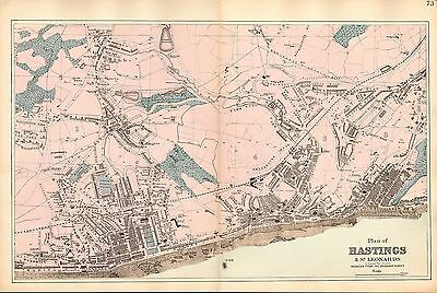 1881 HAND COLOURED MAP ~ PLAN OF HASTINGS & St LEONARDS PIER MARINA CHURCHES etc