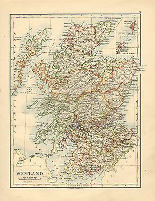 1892 VICTORIAN MAP ~ SCOTLAND ~ INSET SHETLAND ORKNEY ISLANDS DUMFRIES PERTH etc