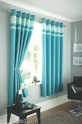 """46"""" X 54"""" Ring Top Teal Faux Silk Teal Curtains Ring Top / Eyelet Crinkle Band"""