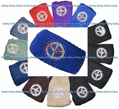 Wholesale Lot 12 HEADWEAR Peace Sign Crochet Knit Headwrap Headband Ear Warmer