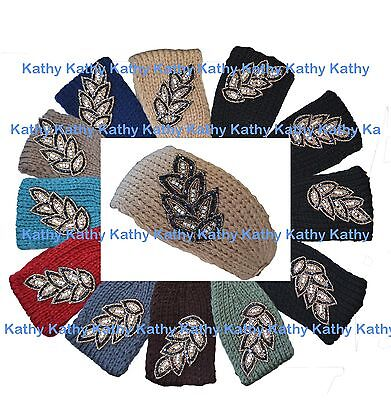 Wholesale 12 Leaf Applique HEADWEAR Crochet Knit Headwrap Headband Ear Warmer