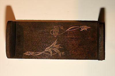 Vintage Pyrography Wood Book Holder Wall Mounted