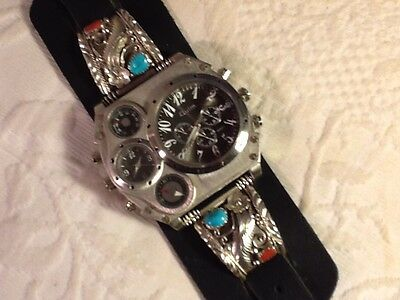 Turquoise Coral Silver Tips Quartz Thermo Compass Watch Natstricklenbellsouth