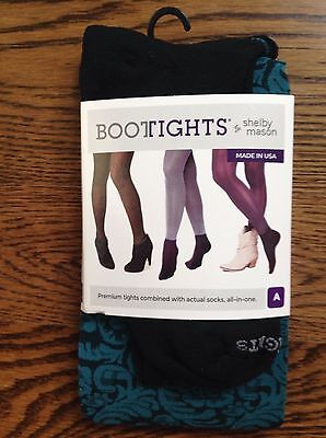 Bootights All In One Boot Tights Ankle Sock Black Turquoise Floral A B C New!