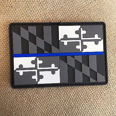 Subdued Thin Blue Line MARYLAND State Flag PVC Patch, Law Enforcement