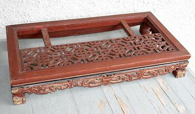 Large Antique Chinese Hand Carved Dragon Wood Table. Lattice Panel Pedestal RARE