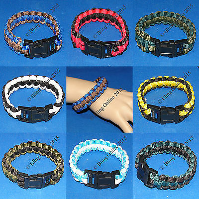 Paracord Survival Cord Bracelet Wristband Camping Hiking Outdoor Military Style