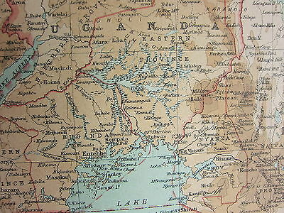 1921 Large Map ~ Central Africa Eastern Section Kenya Colony Tanganyika