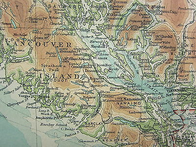 1921 Large Map ~ British Columbia ~ Vancouver Island ~ New Westminster