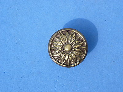 Antique Vintage Brass Flower Poinsettia Furniture Pull Knob Drawer Door NOS