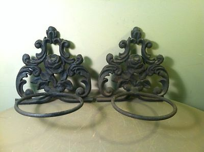 Rare Antique Pair of Heavy Cast Iron Wall Hanging Planter Flower Pot Holder Rose