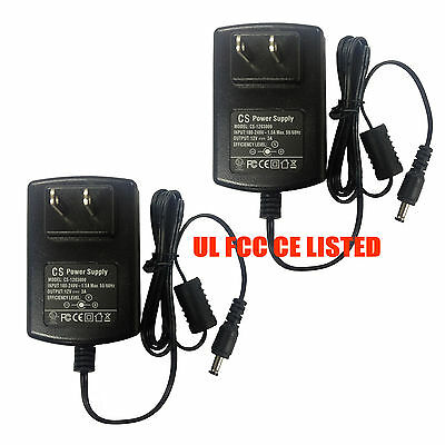 2-Pack AC to DC 12V 3A 36W Power Supply Adapter Wall Plug 5.5 x 2.1mm UL listed