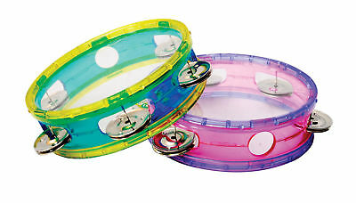 CPK Tambourine 6 Inch *NEW* Transparent Pink Purple Edges Musical Education Kids